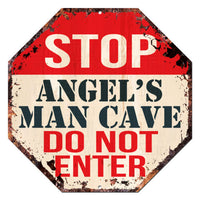 OTGM-0205 STOP ANGEL'S MAN CAVE Tin Rustic Sign Man Cave Decor Gift Ideas