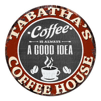 CPCH-0761 TABATHA'S COFFEE HOUSE Chic Tin Sign Decor Gift Ideas
