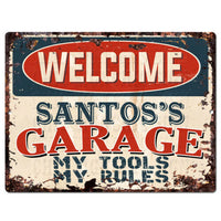 PPWG0494 WELCOME SANTOS'S GARAGE Chic Sign man cave decor Funny Gift