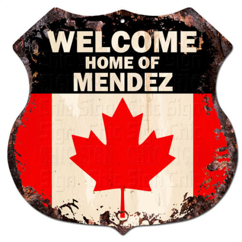 BPWC0242 Canada Flag Welcome Home of MENDEZ Family Name Sign Decor Gift