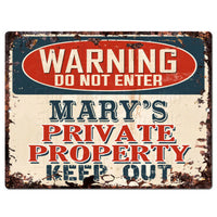 PPWP0699 WARNING MARY'S Private Property Chic Sign man cave decor Gift