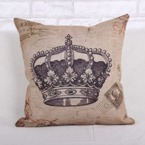 Royal Gem Crown Vintage Linen Cotton Cushion Cover Pillow Case-45x45cm