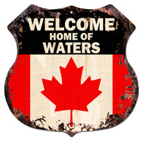 BPWC0455 Canada Flag Welcome Home of WATERS Family Name Sign Decor Gift