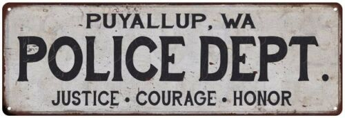 PUYALLUP, WA POLICE DEPT. Home Decor Metal Sign Gift 106180012946