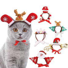 Load image into Gallery viewer, Pet Dog Cats Headdresses Christmas Halloween Pet Cat Headgear Santa Headwear Hats Dog Cat Cosplay Dressing Up Props 2019 Newest