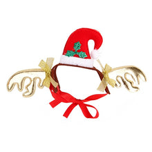 Load image into Gallery viewer, Christmas Halloween Pet Dog Cats Headdresses Pet Puppy Cat Headgear Santa Elk Headwear Hats Dog Cat Cosplay Dressing Up Props
