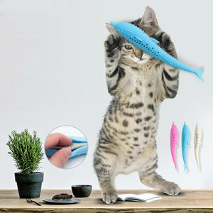 Cat Fish Shape Toothbrush With Catnip Pet Dental Grooming Washing Tooth Brush Silicone Molar Stick Teeth Cleaning Toy For Cats