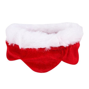 Adjustable Bib For Cats Dogs Pet Christmas Costume Cape With Hat Santa Claus Cloak Red
