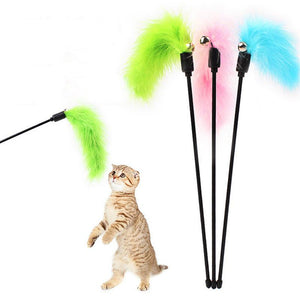 Cat Teaser Wand Pet Interactive Fun Stick Toy Wire Chaser Colorful Feather Cat Supplies Random Colors