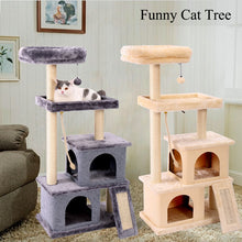 Load image into Gallery viewer, Hot Catt Tree Multilevel and Luxury Cat Towers 50 Inches with 2 Condos Spacious Perches, Scratching Post Dangling Balls and Ramp