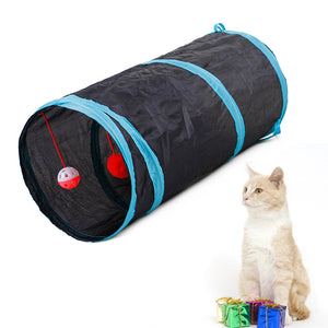 Cute 7 Colors Funny Pet Cat Tunnel 2 Holes Play Tubes Balls Collapsible Crinkle Kitten Toys Puppy Rabbit Play Dog Tunnel Tubes