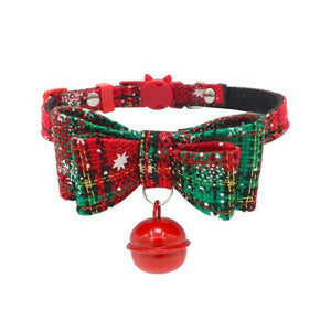 Christmas Cat Collar With Bell Cats Kitten Double Layer Bowknots  Pet Adjustable Kitten Collars For Christmas Gift