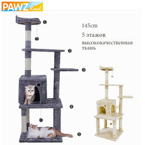6 Kinds Cat Toy Scratching New Arrival Domestic Delivery H124CM Post Wood Climbing Tree Cat Jumping Standing Frame Cat Furniture