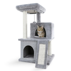 Unique Designing Sisal Cat Tree Pet Cat Window Luxury Chair Kitten Jumping Bed House For Cat Scratching Post Funny Hanging Ball