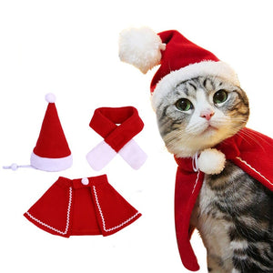 New Christmas Pet Costume 1Set Pet Cat Dog Hat Red Scarf Christmas Holiday Costume Small Animals Clothes Set