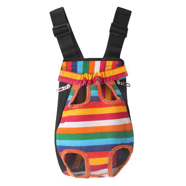 Foldable Dog Cat Nylon Pet Puppy Carrier Backpack Colorful Stripes Pets Kitten Teddy Outdoor Travel Safe Comfort Carrying Cage