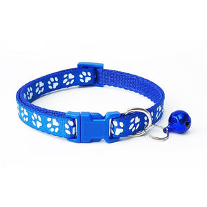 2019 Hot Pet Bell Collar Cute Footprint Collar Pet Adjustable Collar Nylon Collar For Cat And Dog