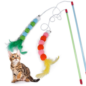 2019 Hot Kitten Cat Toy Interactive Toy Soft Feather And Bell Beading Cat Accessories Katten Speelgoed