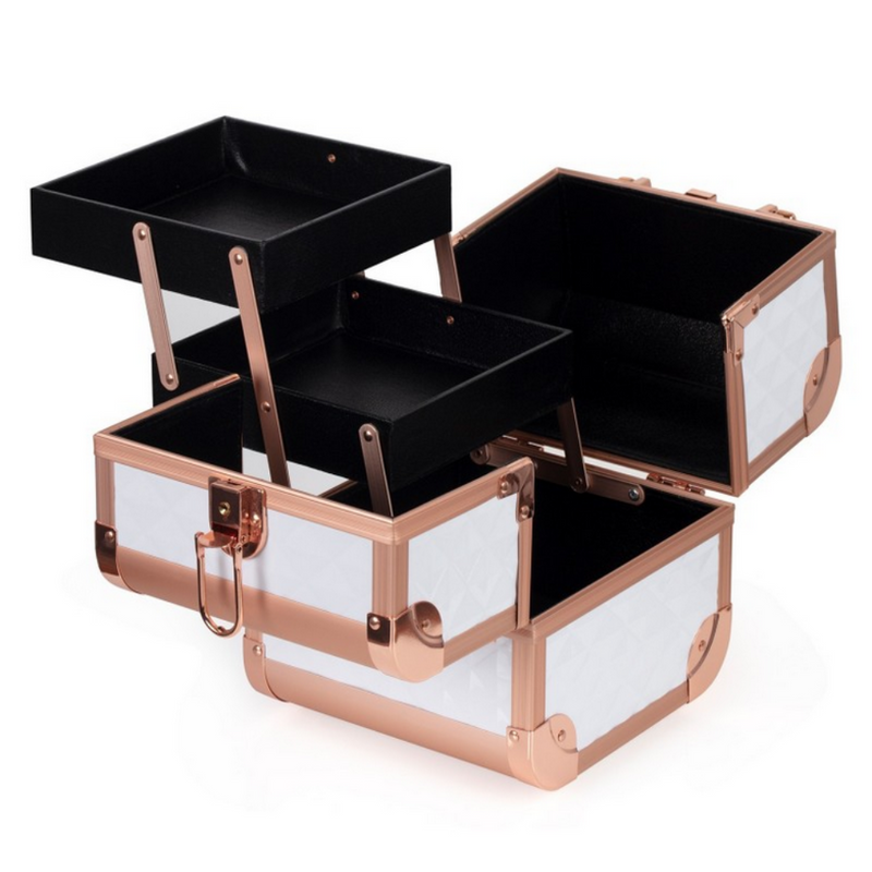 Diamond Makeup Case | White & Rose Gold