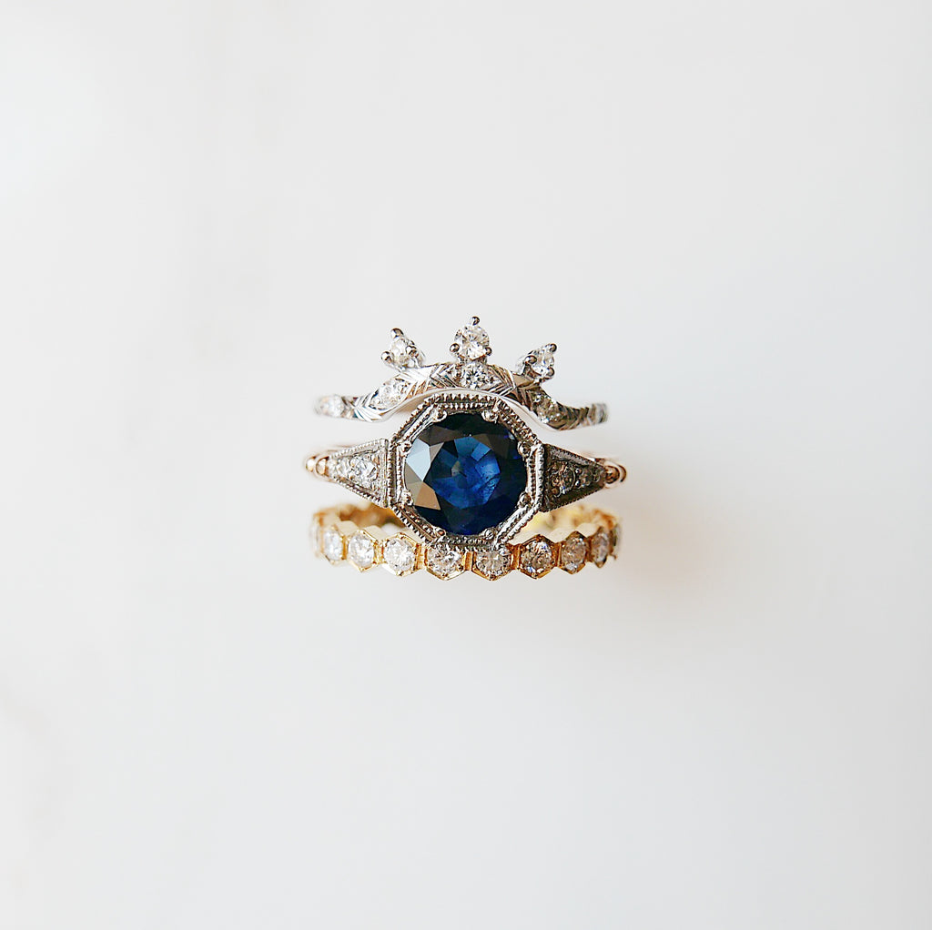 Blue Sapphire Royal Ring Set