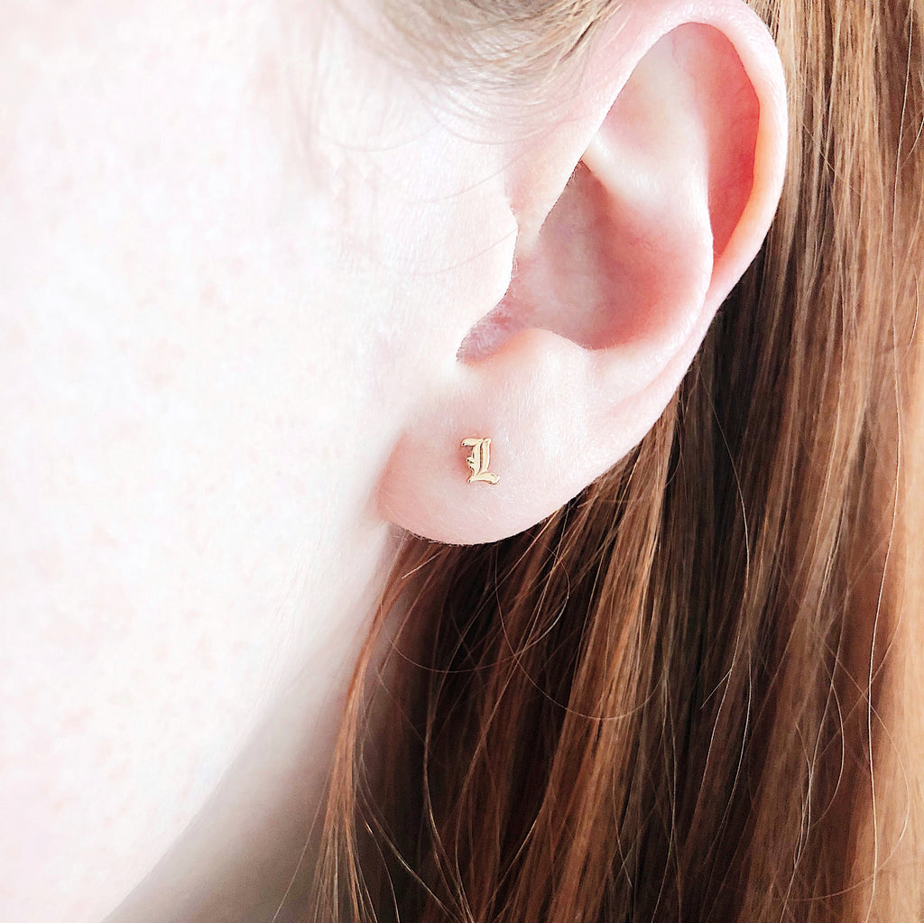 Old English Rose Gold Initial Earring