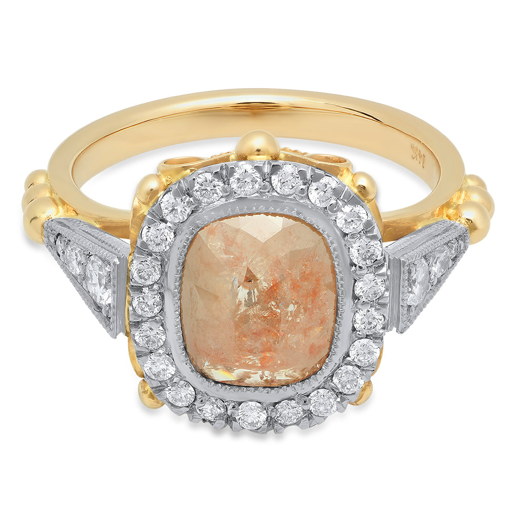 Countess Rose Cut Peach Diamond Ring