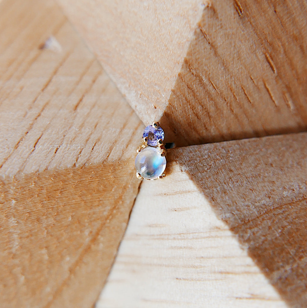 Duo Moonstone & Tanzanite Stud Earring