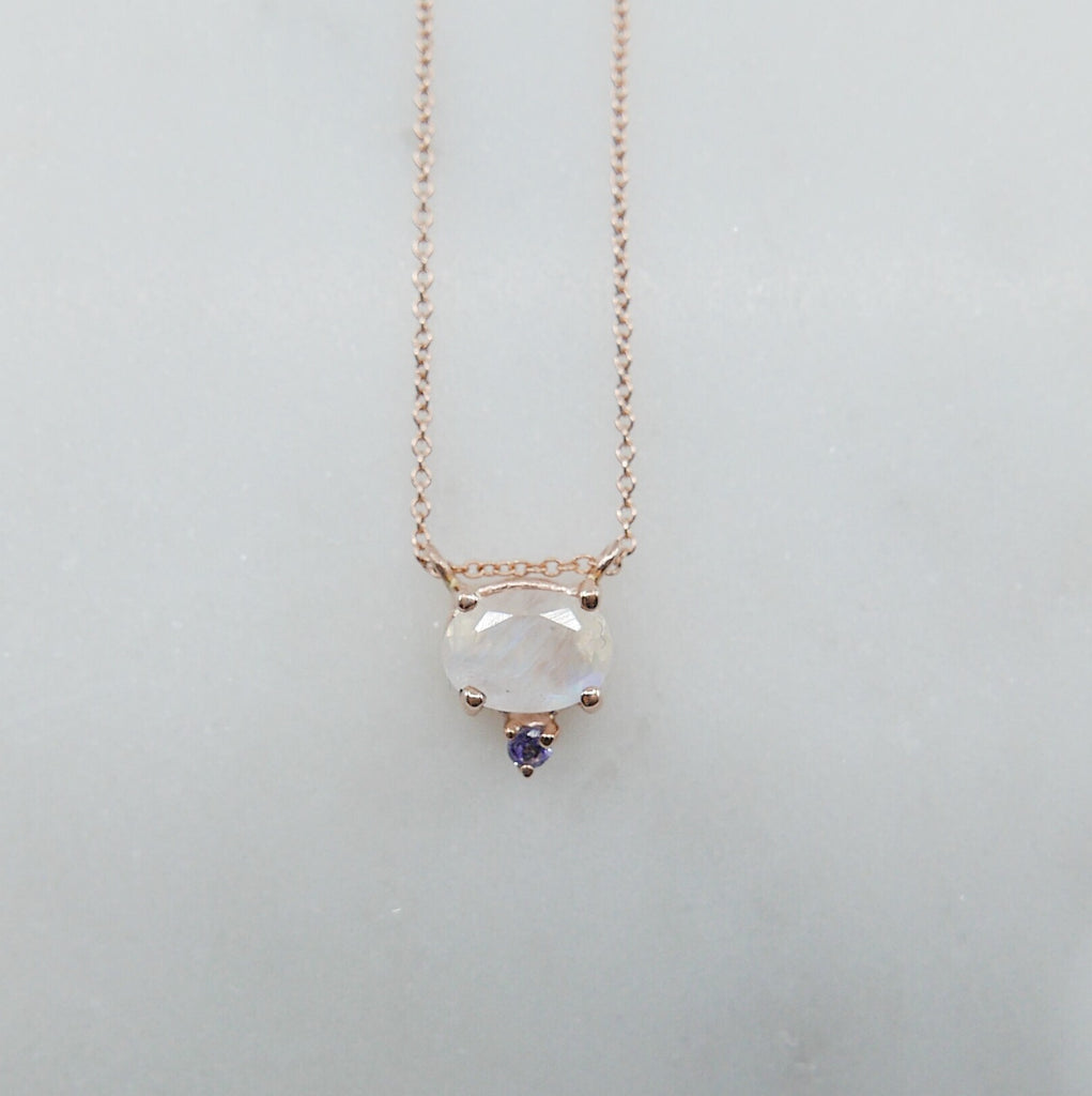 Nyla Moonstone Tanzanite Necklace