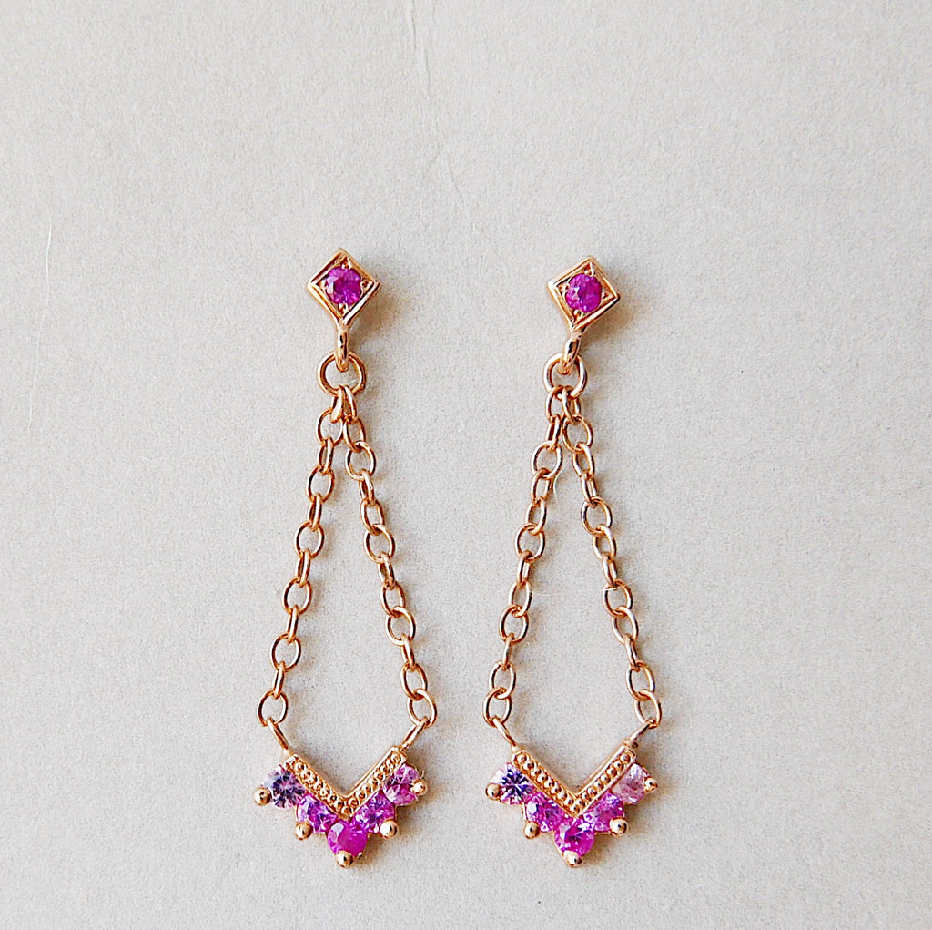 Chevron Pink Sapphire Ombre Block Earrings