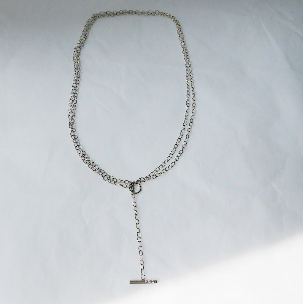Double Chain Diamond Bar Necklace - Small