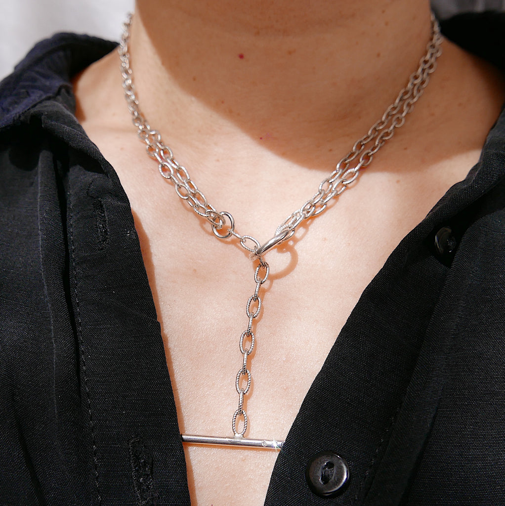 Double Chain Diamond Bar Necklace - Medium