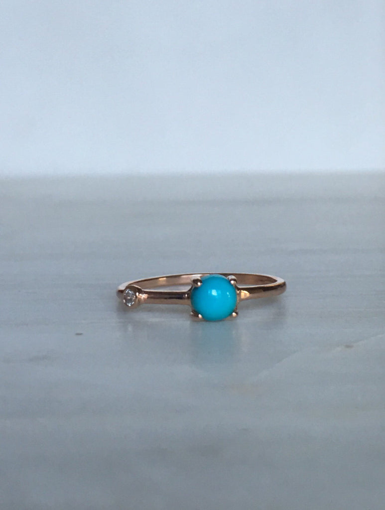 Turquoise Duet Ring (Medium), turquoise  and diamond ring, turquoise ring, stacking ring, turquoise band, promise ring, gold turquoise ring