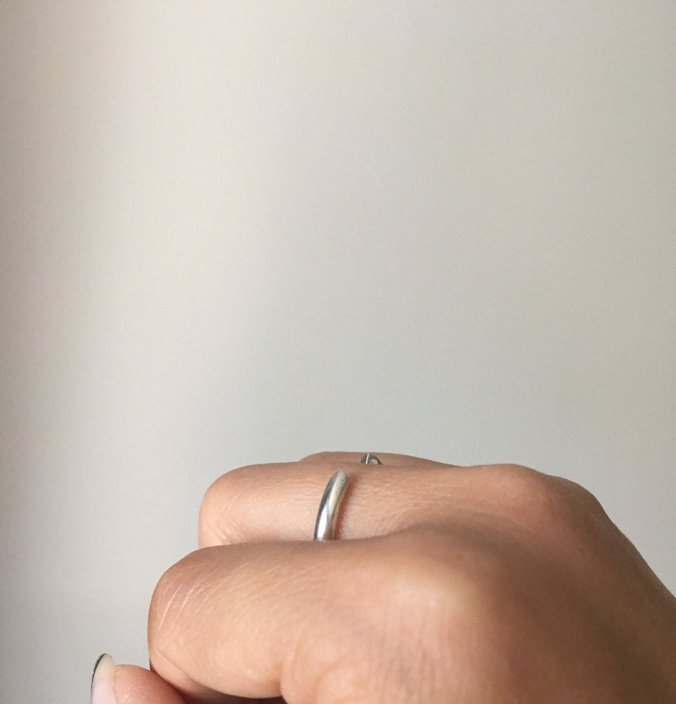 Silver On Pointe Ring, silver cuff ring, stacking open ring, sterling silver cuff ring