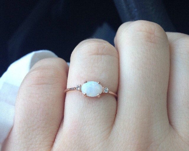 SALE! Oval opal ring, three stone ring, opal and diamond ring, 14k gold opal ring