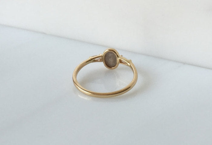 Oval Rustic Diamond bezel ring, one of a kind, unique engagement ring, rose cut diamond ring, three stone diamond ring