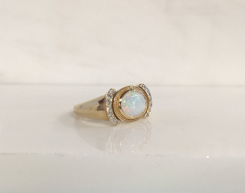 Aurora opal and diamond ring, opal and diamond ring, bezel opal ring, bezel ring, 14k gold opal ring, diamond accent ring