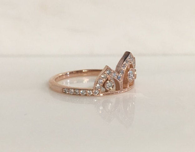 Tiara ring, Queen ring, Royal ring, stacking ring, crown ring, princess ring, wedding band, engagement ring, fancy ring, diamond ring