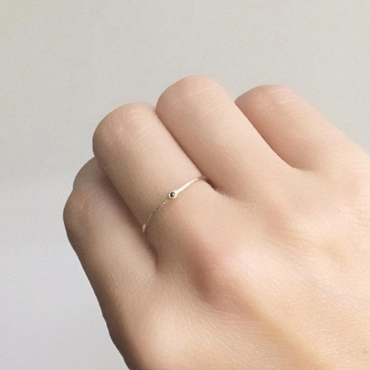 Beautymark ring, 14k Diamond Ring, Mini rosecut black diamond Ring, Thin Band, mini solitaire, Stacking Rings, 14k Gold Band, Wedding Band,