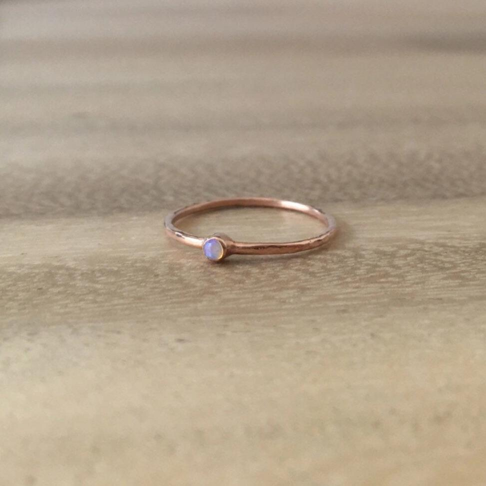 Mini opal ring, opal solitaire ring, 14k opal stackable ring, small round opal ring, thin gold ring