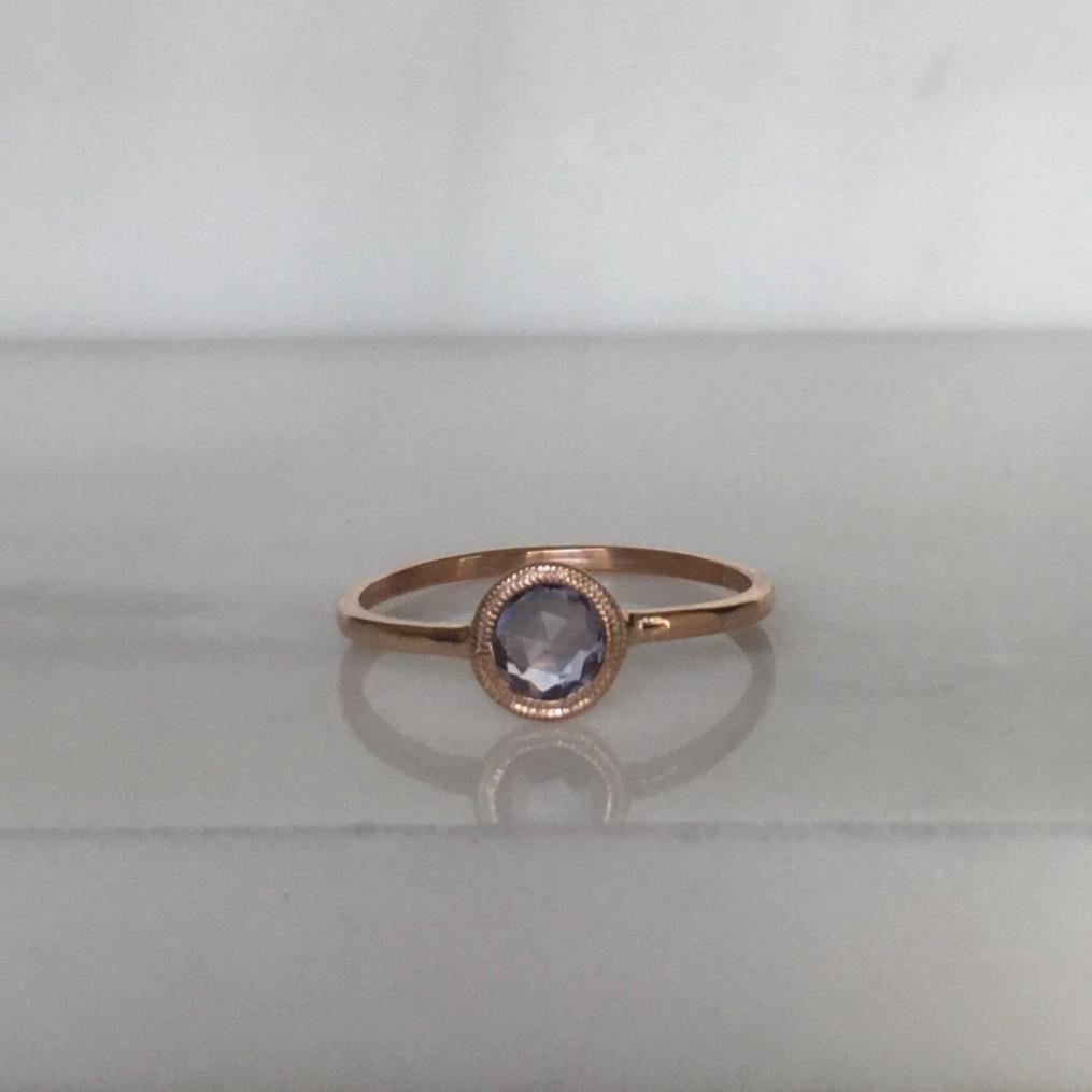 Justine rose cut sapphire ring, gold solitaire ring, bezel stone ring, 14k gold rose cut sapphire ring