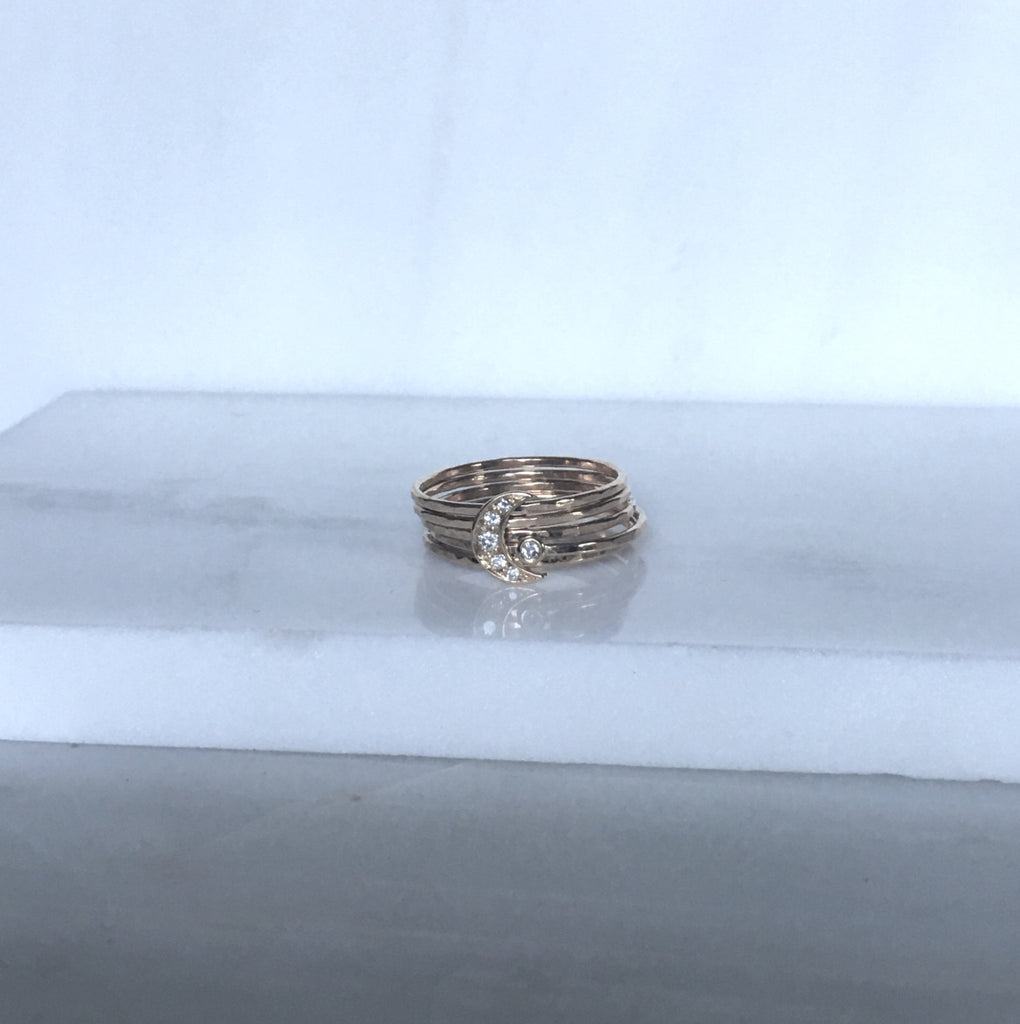 Diamond crescent moon stacking ring, Crescent moon ring set, Moon Rings, Gold Crescent Ring