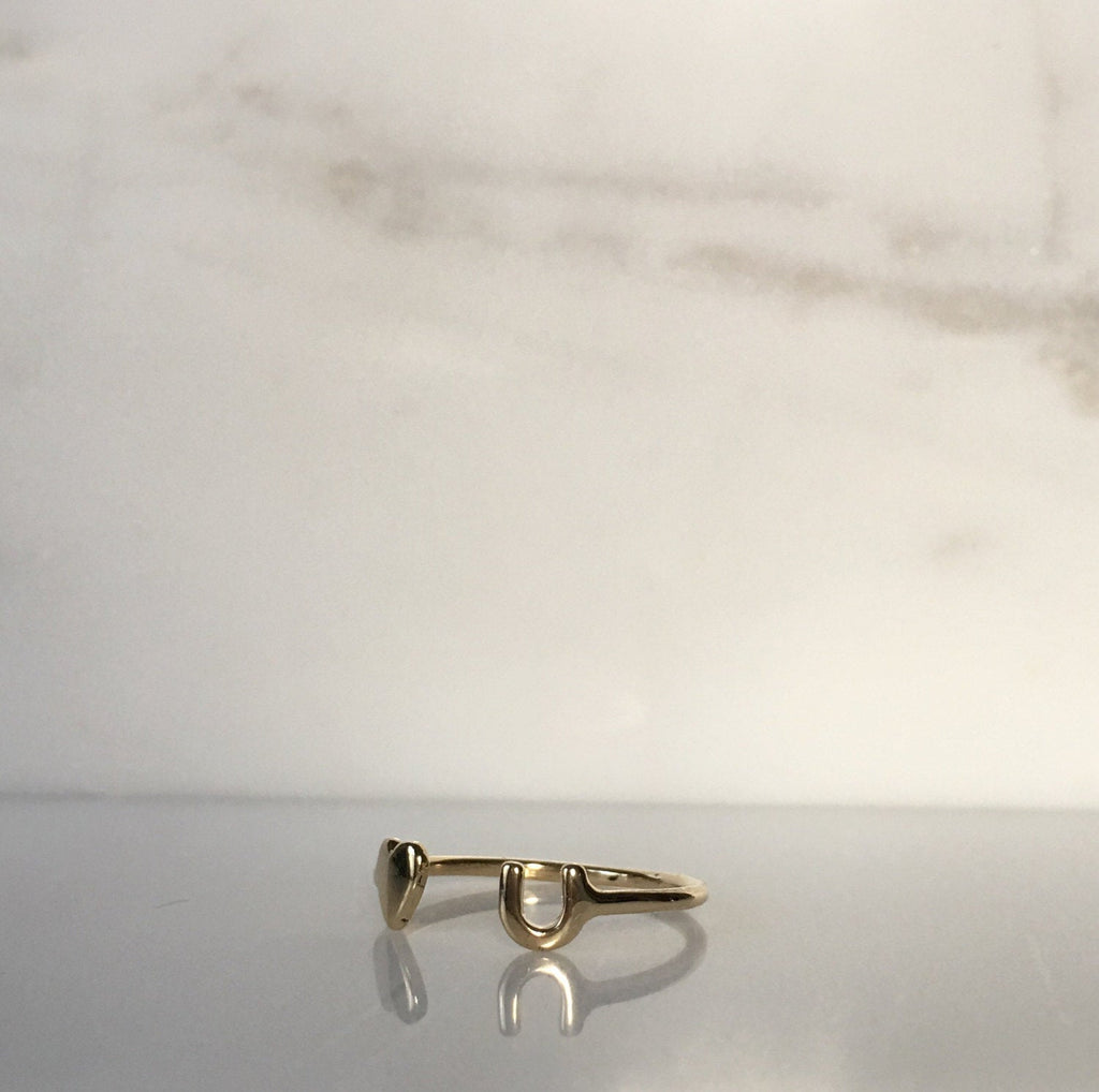 Love U open cuff ring, 14k gold heart ring, open heart ring, 14k love cuff ring, mini heart ring, stacking open ring, heart cuff ring
