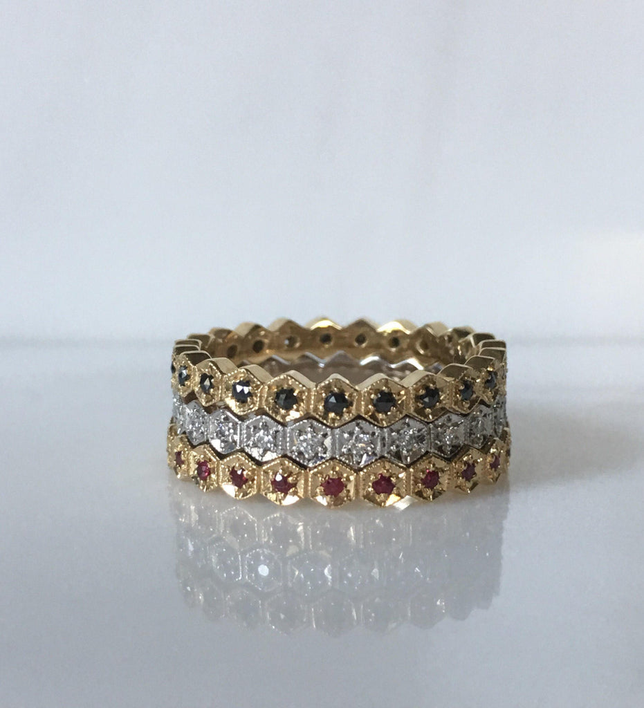 Hexagon Diamond Eternity band, diamond stacking band, wedding band, infinity Geometric ring, diamond infinity ring