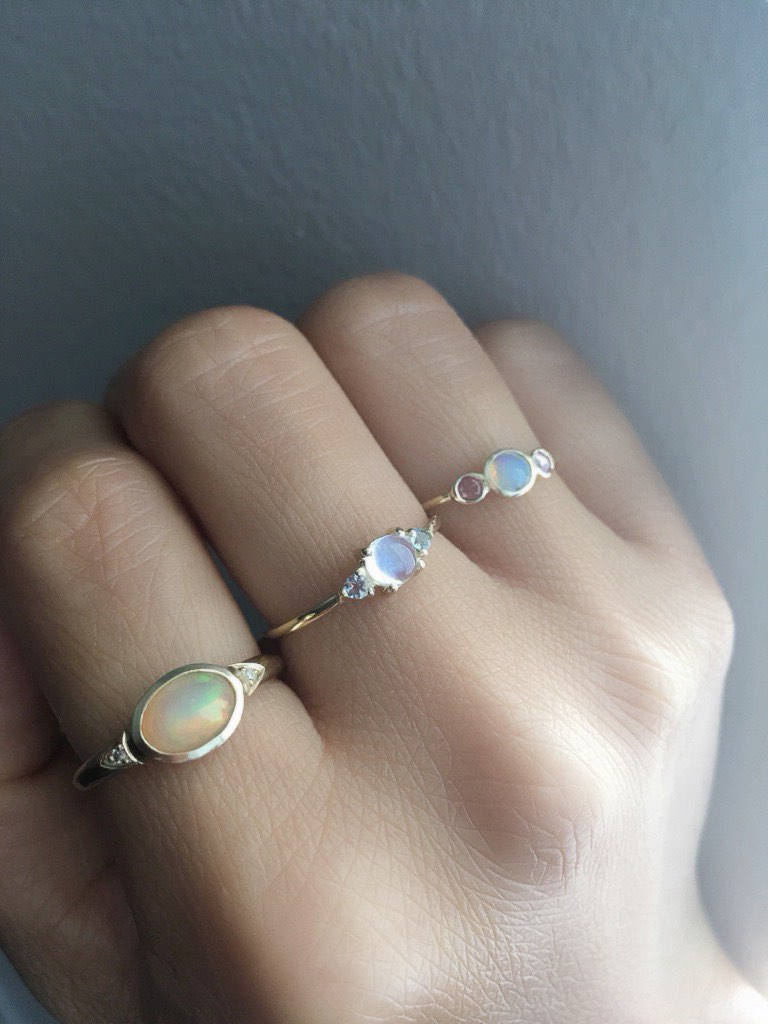 Penny Moonstone three stone ring, three stone ring, moonstone and aquamarine ring, 14k gold rainbow moonstone ring, 3 stone moonstone ring
