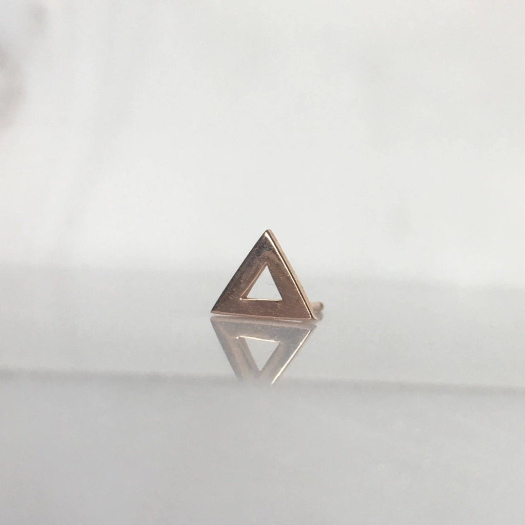 Open triangle stud earring, 14k single triangle stud, geometric gold stud, 14k modern stud, triangle earring, gold triangle stud