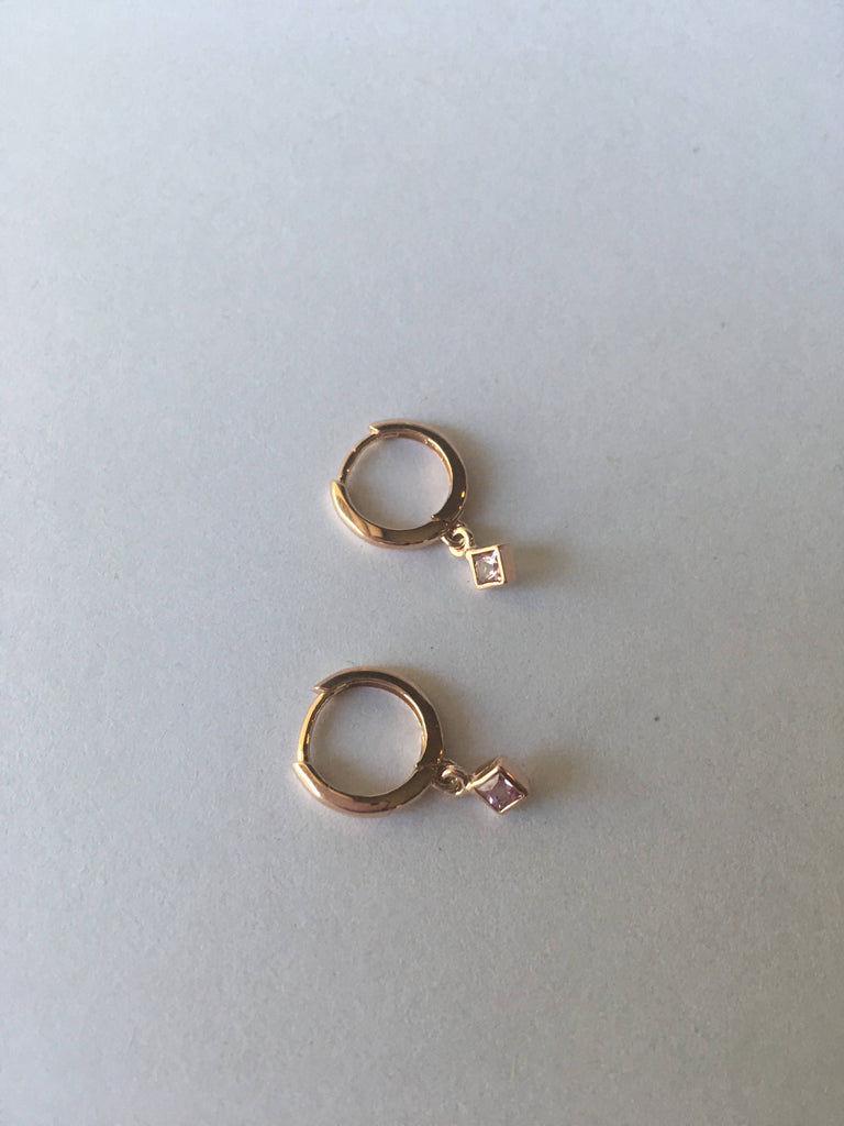 Small Princess cut pink sapphire charm hoop, small 14k gold sapphire hoop, pink sapphire hoop, hoops with bezel charms, square stone hoop