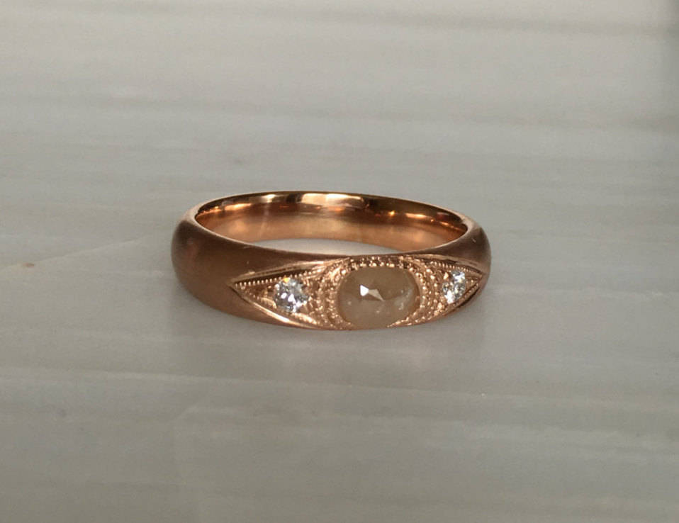 Indira Band, Rustic Diamond band, thick gold band, Rustic Diamond wedding band, 3 stone band, Rustic Diamond gypsy ring