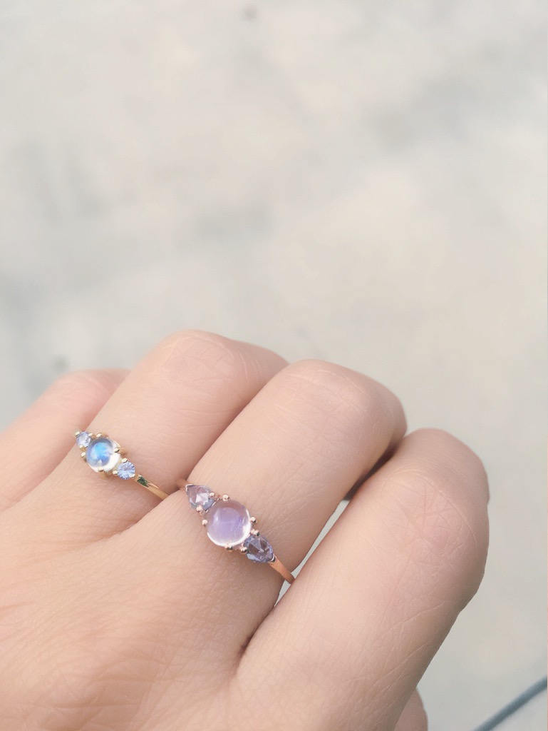 Penelope Moonstone ring, Moonstone and  rosecut sapphire ring, 3 stone ring, 14k gold rainbow moonstone ring