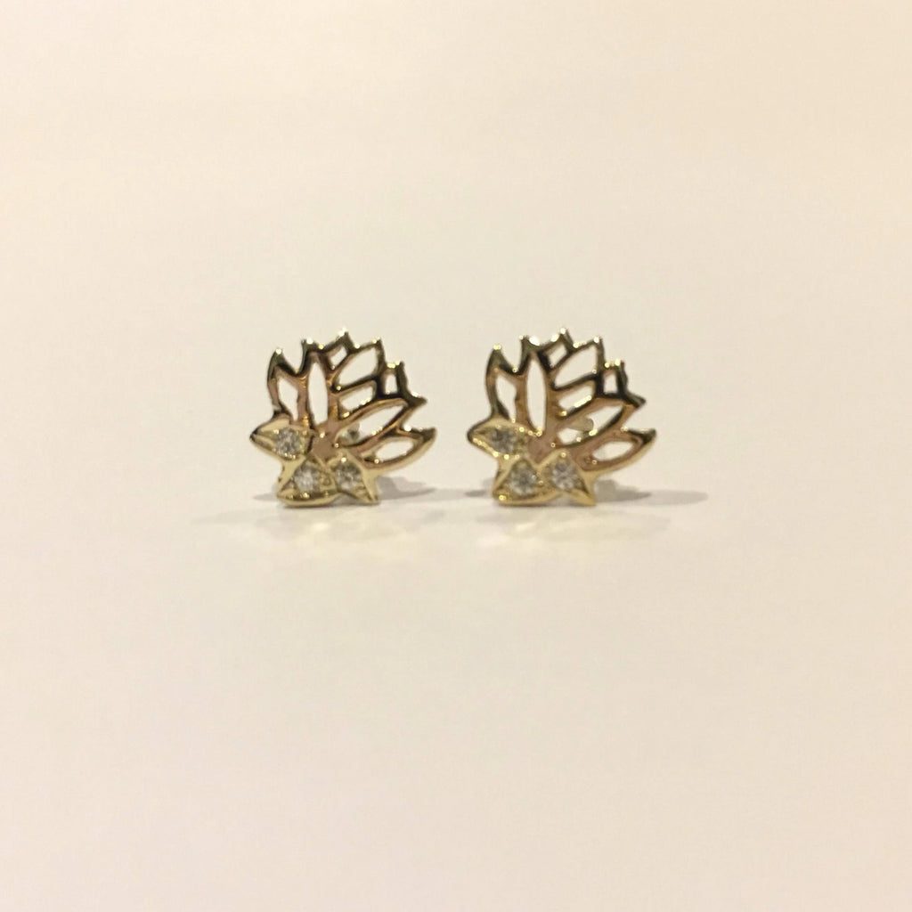 14k gold diamond lotus earrings, lotus stud earrings, diamond flower earrings, gold lotus studs