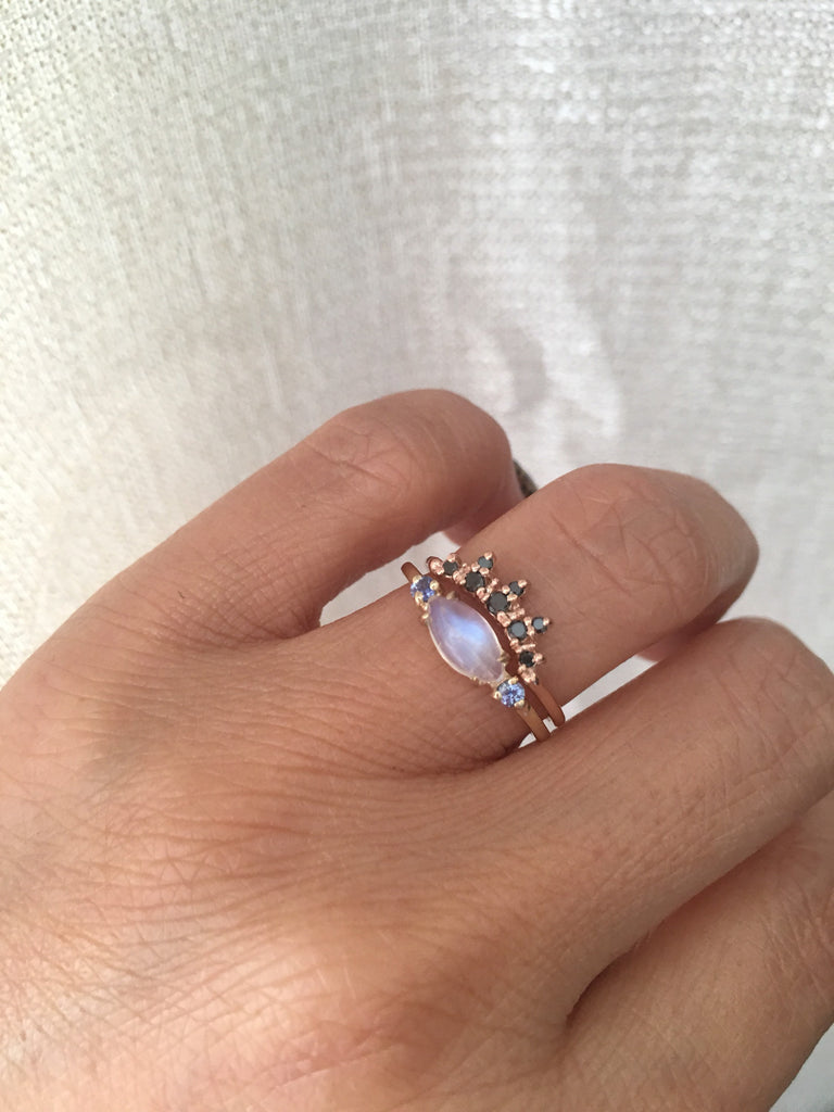 Twiggy Moonstone Ring, sleek marquise moonstone ring, 3 stone ring, marquise moonstone and sapphire ring, 14k gold moonstone ring
